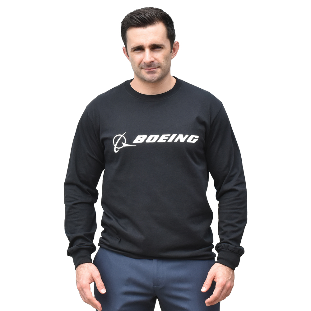 BOEING SIGNATURE T-SHIRT LONG SLEEVE, BLACK
