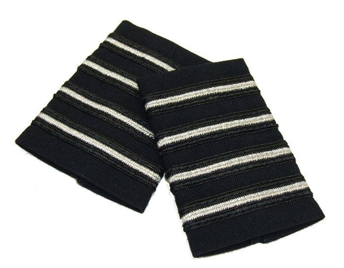 EPAULETS MET SILVER (THIN STRIPE) MIDNIGHT NAVY STRIPE VELCRO