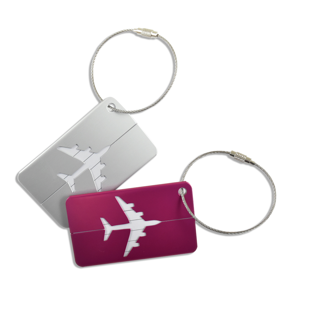 ALUMINUM LUGGAGE TAGS (2 PACK) PLANE MOTIF