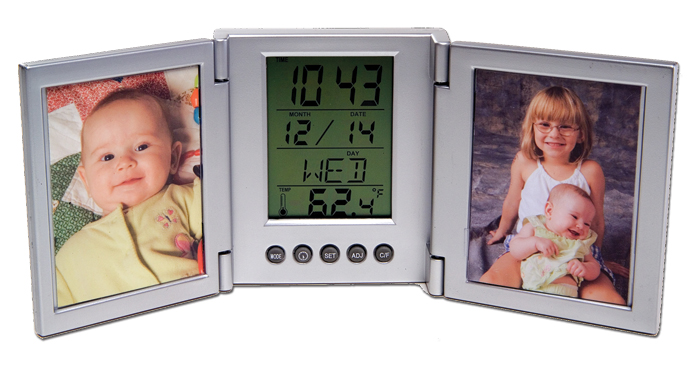 MULITFUNCTION ALARM CLOCK WITH DUAL FRAME FOLDING PICTURE