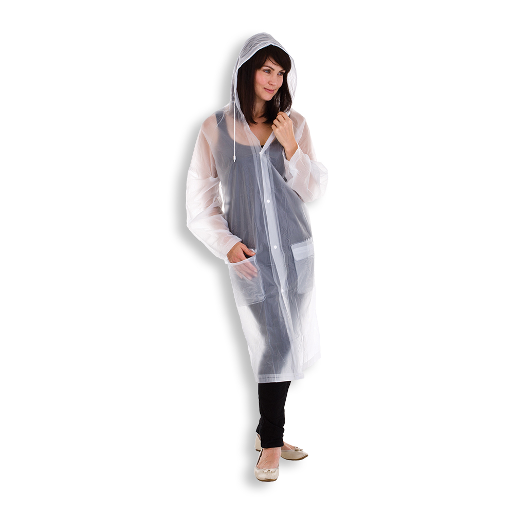 CLEAR FROSTED RAINCOAT WITH HOOD