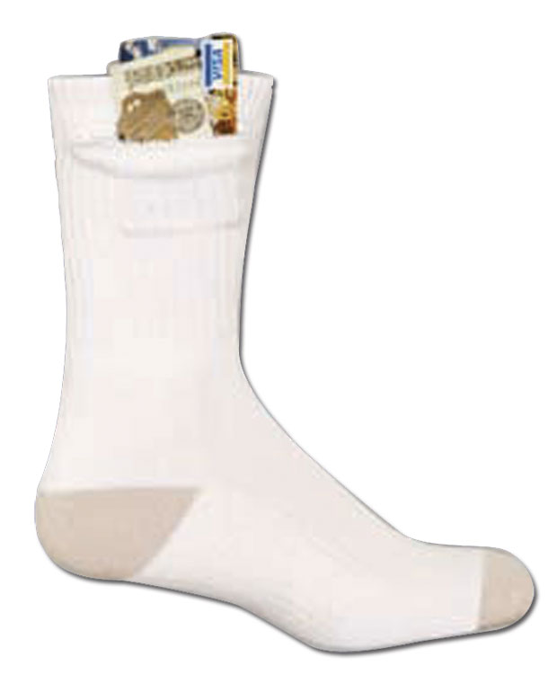 CREW ZIP SOCK WHITE LARGE (FITS MEN SHOE SIZE 6-12.5)