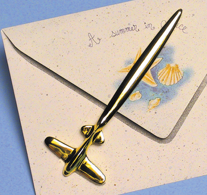 AIRPLANE LETTER OPENER 24K GOLD PLATED