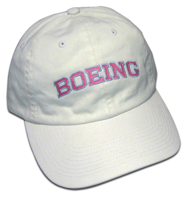 LADIES BOEING CAP WHITE WITH PINK LETTERS