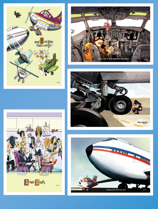 AVIATION THEME NOTE CARDS VARIETY (5/PACK)