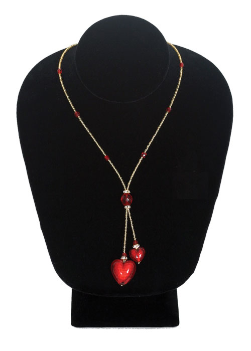 ITALIAN MURANO DUAL HEARTS GLASS NECKLACE RED