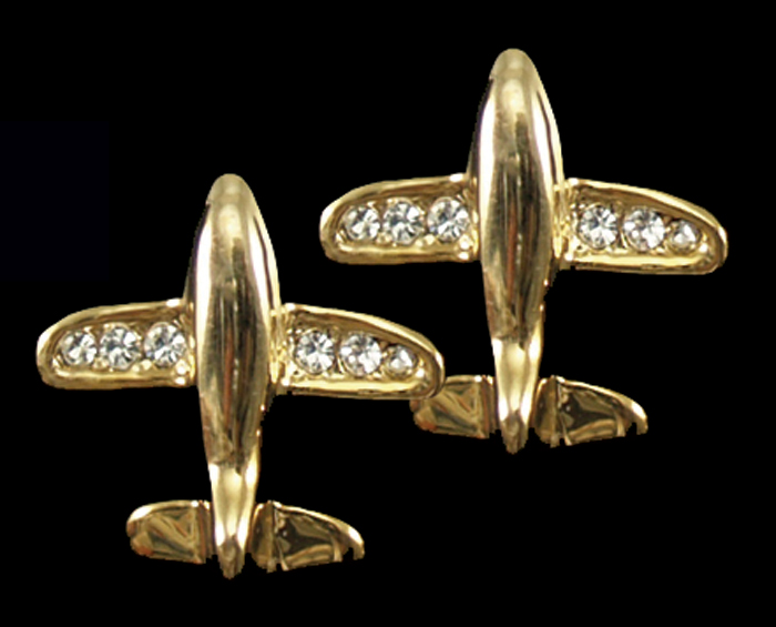 JET RHINESTONE ACCENTED PIERCED EARRINGS GOLDTONE