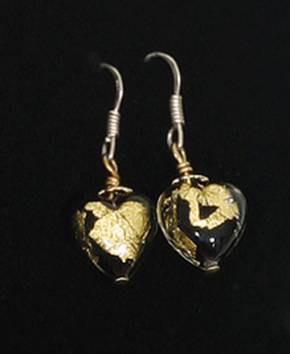 ITALIAN MURANO HEART EARRINGS BLACK/GOLD WITH 14K GOLD HANDPAINT