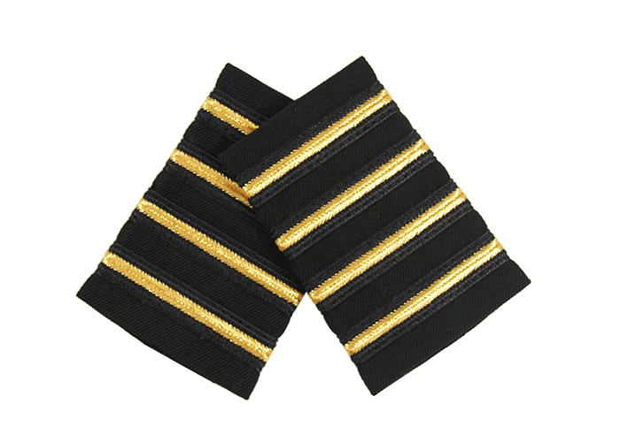 EPAULET METALLIC GOLD BLACK (THIN) BLACK STRIPE ON BLACK