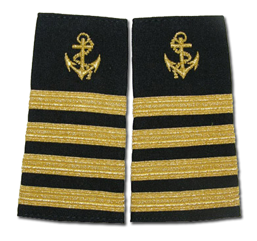 MARINER EPAULETS METALLIC GOLD BLACK WITH ANCHOR