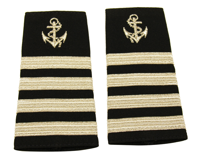 EPAULETS MARINER METALLIC SILVER ON NAVY WITH ANCHOR
