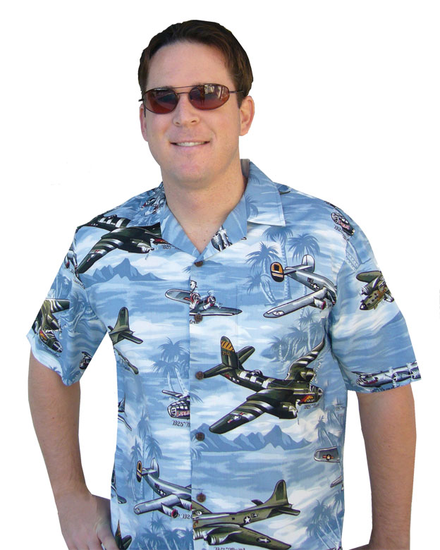 MENS AVIATION HAWAIIAN SHIRT BLUE