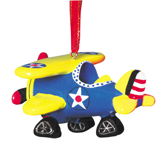 AIRPLANE ORNAMENT BLUE YELLOW