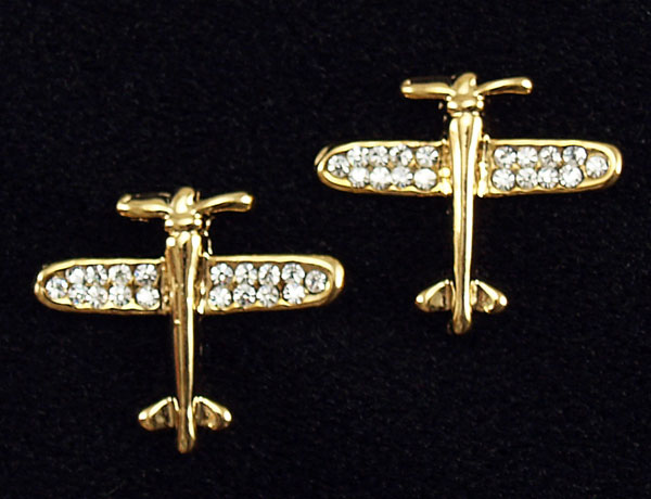 RHINESTONE PIERCED EARRINGS GOLDTONE