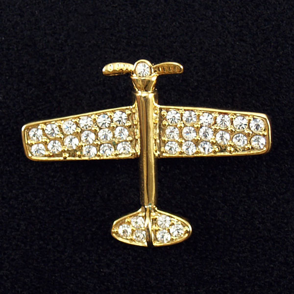 RHINESTONE PLANE PIN MEDIUM