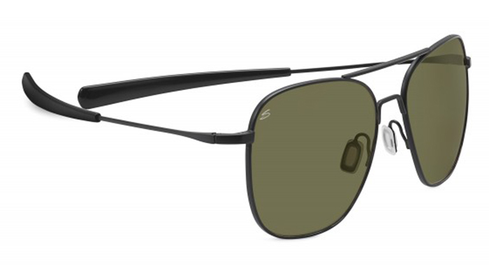 AERIAL SERENGETI SUNGLASSES SATIN BLACK 555NM