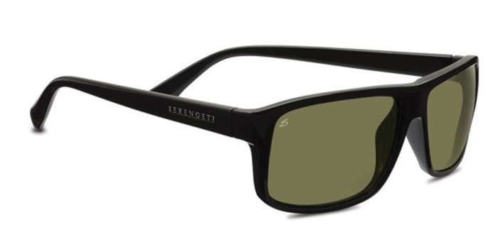 CLAUDIO POLARIZED SERENGETI SUNGLASSES SATIN BLACK 555NM