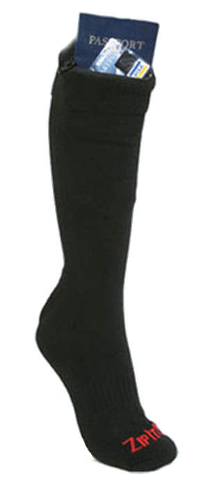 PASSPORT ZIP SOCK BLACK (FITS LADIES SHOE SIZE 4 - 10.5)