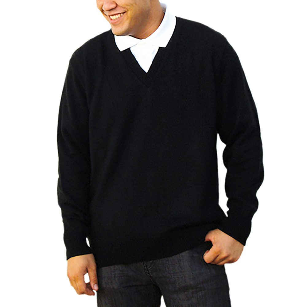V-NECK PULLOVER CREW SWEATER NO EPAULETS TABS BLACK
