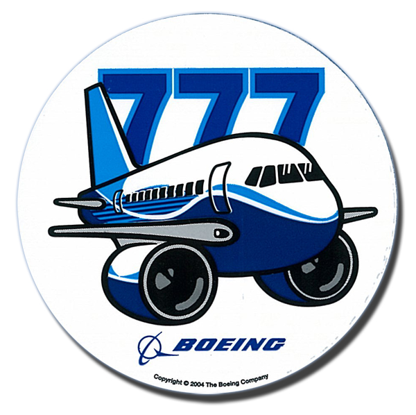 BOEING 777 PUDGY PLANE STICKER - 3