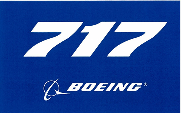 BOEING 717 PLANE STICKER BLUE