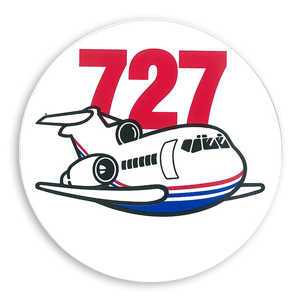 BOEING 727 PUDGY PLANE STICKER 3