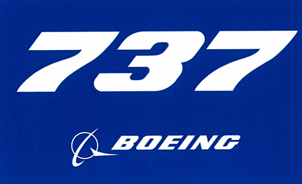 BOEING 737 PLANE STICKER BLUE