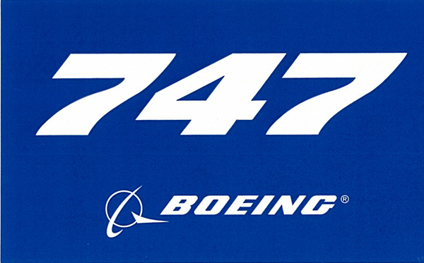 BOEING 747 PLANE STICKER BLUE