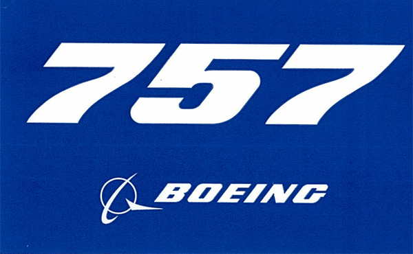 BOEING 757 PLANE STICKER BLUE