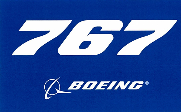 BOEING 767 PLANE STICKER BLUE