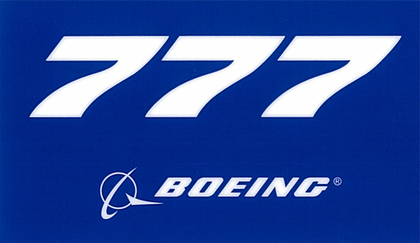 BOEING 777 PLANE STICKER BLUE