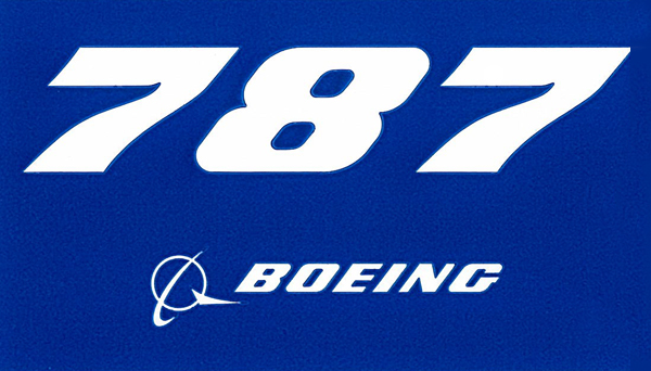 BOEING 787 BLUE PLANE STICKER - 3.75