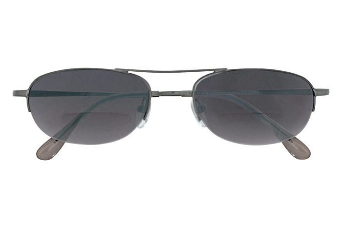 AVIATOR STYLED BIFOCAL SUNREADERS GUNMETAL