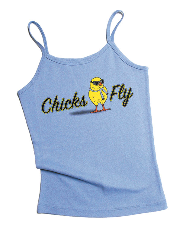 CHICKS FLY LADIES T-SHIRT BLUE