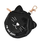 Black Cat Earbud & Keychain Case