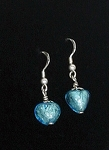 ITALIAN MURANO HEART EARRINGS TURQUOISE SILVERTONE