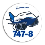 BOEING 747 PUDGY PLANE STICKER - 3