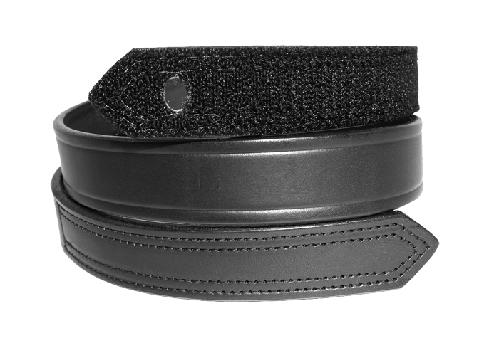 BLACK LEATHER VELCRO-CLOSURE BELT