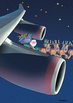 AVIATION THEME CHRISTMAS GREETING CARDS (18/BOX) 'WITH VERY BEST WISHES FOR A HAPPY HOLIDAY SEASON'