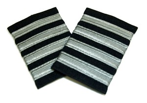 EPAULETS SILVER ON BLACK WITH VELCRO