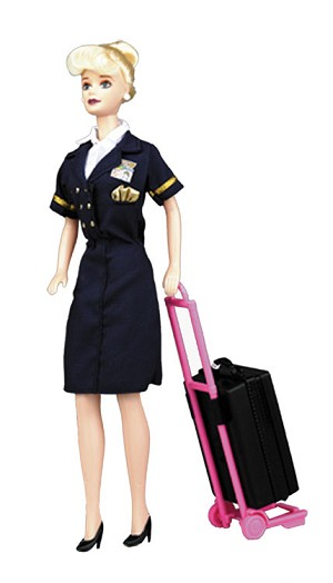 FLIGHT ATTENDANT DOLL WITH ROLLING LUGGAGE