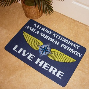 FLIGHT ATTENDANT AND NORMAL PERSON INDOOR ONLY DOORMAT BLUE