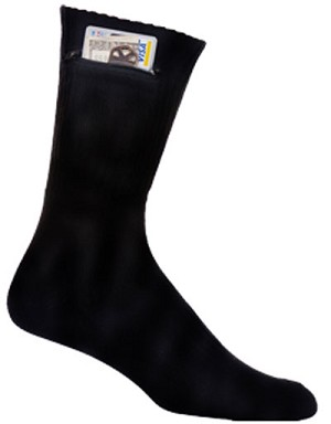 CREW ZIP SOCK BLACK MEDIUM (FITS LADIES SHOE SIZE 4-10.5)