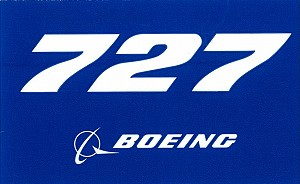 BOEING 727 PLANE STICKER BLUE
